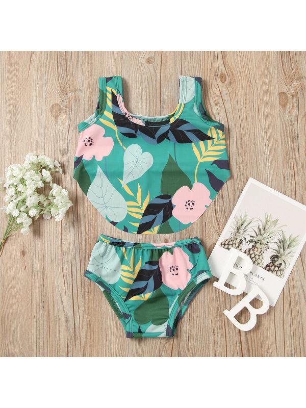 【12M-7Y】Girls Sweet Green Flower Pattern Bikini