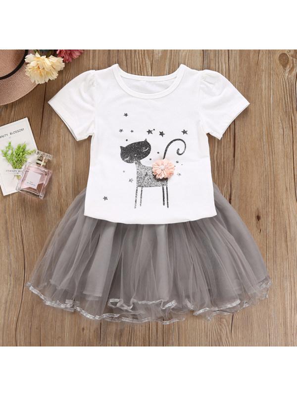 【18M-7Y】Cute Cartoon Print Round Neck Short-sleeved T-shirt And Mesh Skirt Set
