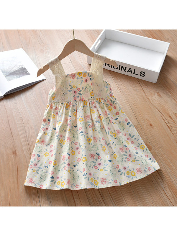 【18M-7Y】Girls Sweet Floral Lace Sling Dress
