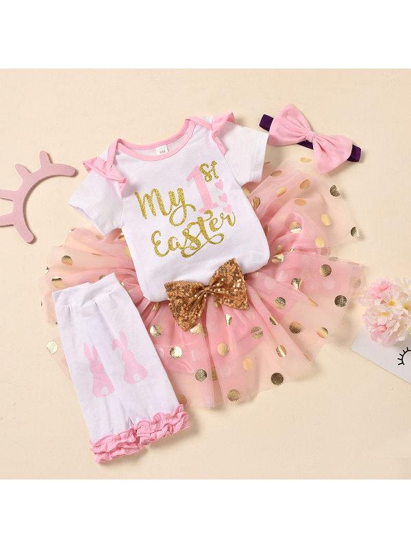 【6M-3Y】Cute Letter Printed Romper And Mesh Skirt Set