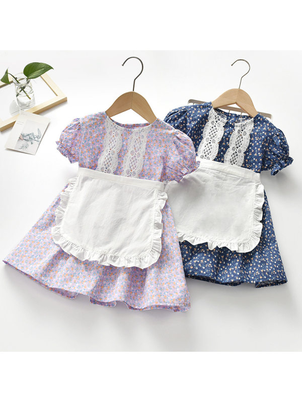 【18M-7Y】Girls Sweet Floral Lace Round Neck Puff Sleeve Dress