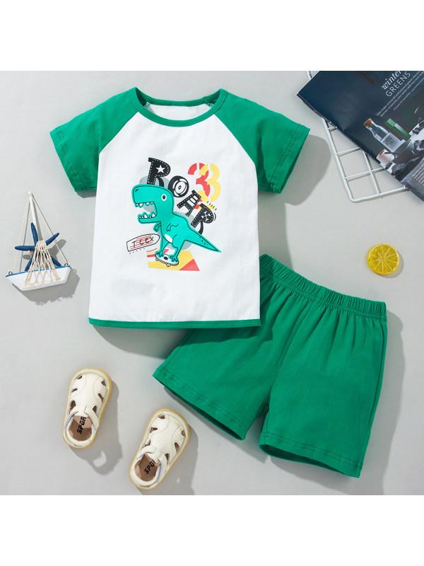 【18M-6Y】Casual Cartoon Printed Green T-shirt And Shorts Set