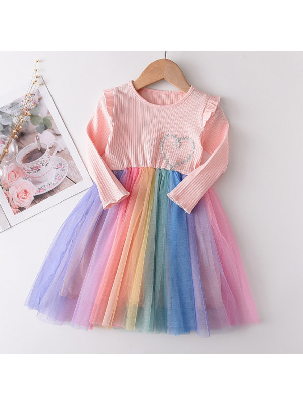 【18M-7Y】Girls Sweet Pink Heart Shaped Embroidered Mesh Long Sleeve Dress