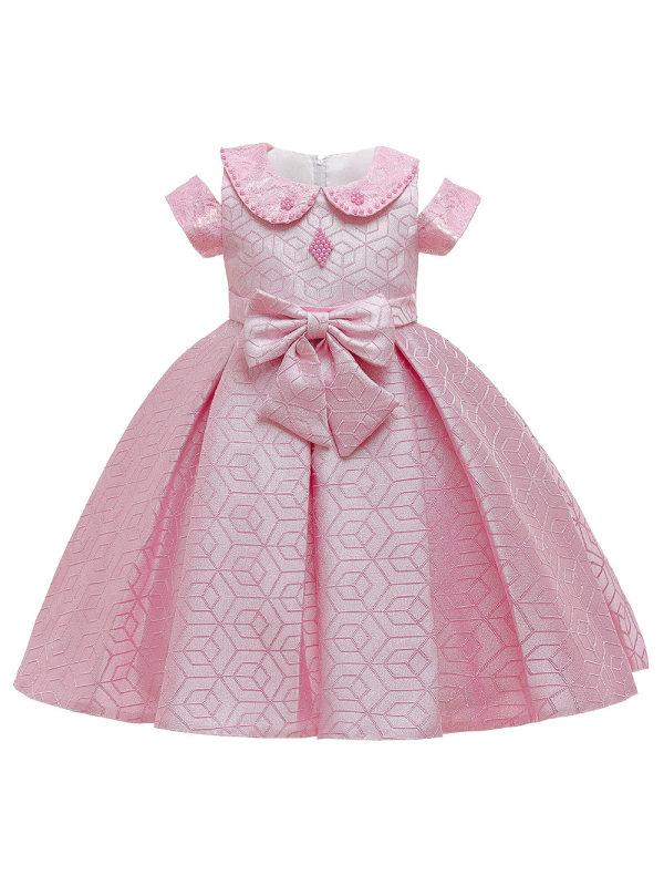 【2Y-9Y】Girls Sweet Lapel Off Shoulder Bow Princess Dress