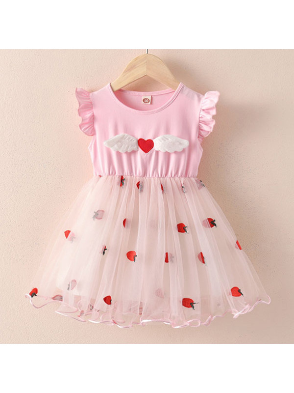 【18M-7Y】Cute Heart-shaped Wings Round Neck Short-sleeved Mesh Dress