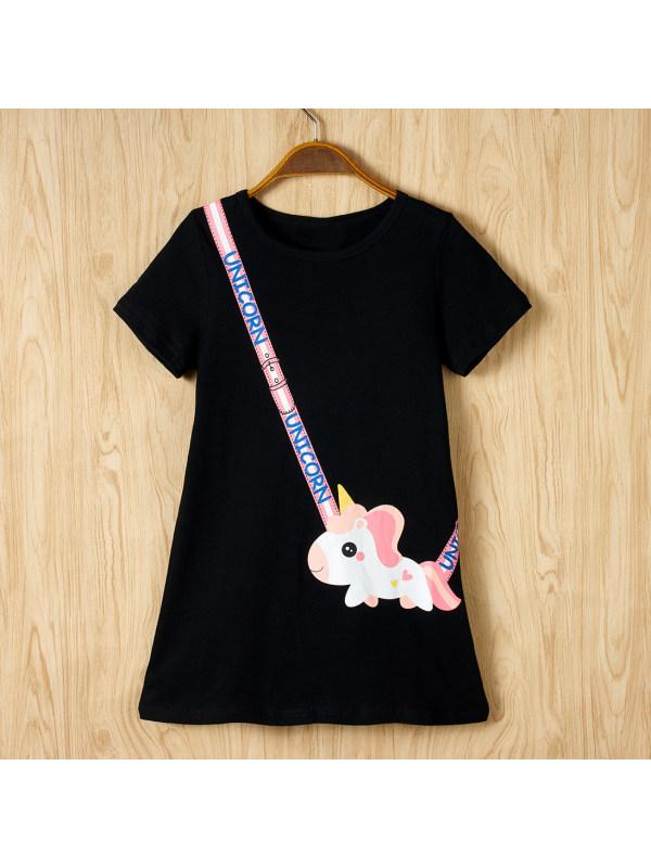 【4Y-9Y】Sweet Unicorn Bag Print Round Neck Short Sleeve Dress