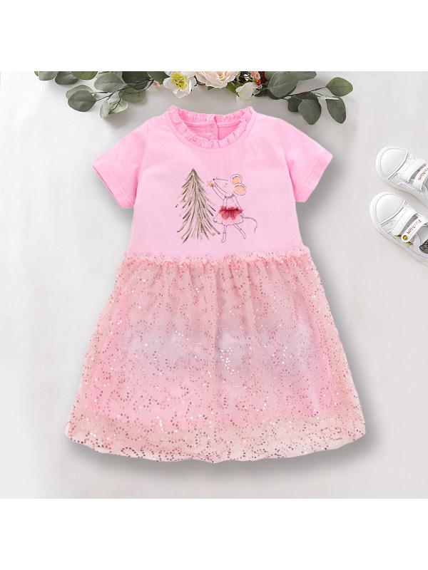 【18M-9Y】Sweet Cartoon Print Pink Sequin Dress