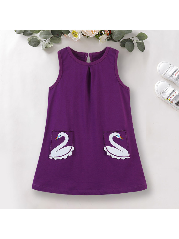 【18M-9Y】Cute Swan Embroidered Round Neck Sleeveless Purple Dress