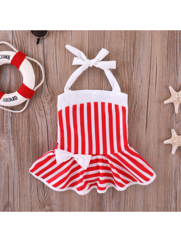 【3M-3Y】Girls Red And White Striped Bow One-piece Swimsuit