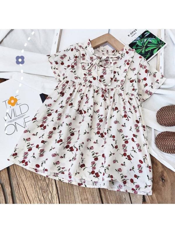 【18M-7Y】Sweet Floral Print Round Neck Short Sleeve White Dress