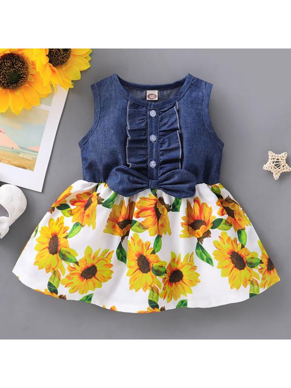 【12M-4Y】Sweet Floral Print Round Neck Sleeveless Denim Dress