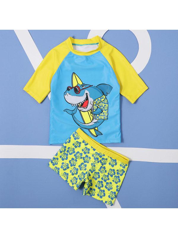 【18M-5Y】Boys Contrast Cartoon Pattern Split Short-sleeved Swimsuit