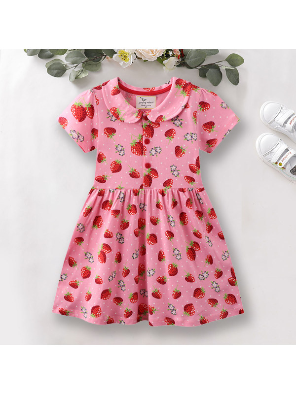 【12M-7Y】Sweet Strawberry Print Short Sleeve Pink Dress