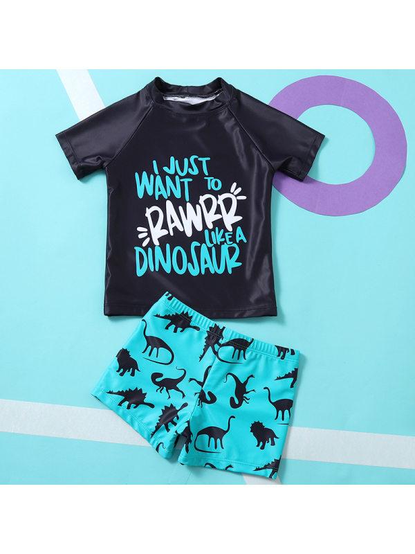 【18M-5Y】Boys Letter Print Top Dinosaur Print Shorts Swimsuit