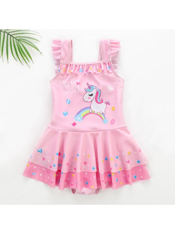 【2Y-11Y】Girls Sweet Cartoon Unicorn Lace One-piece Swimsuit