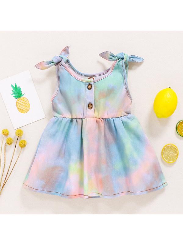 【6M-3Y】Sweet Colorful Tie-dye Bow Dress