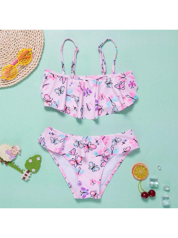【6Y-13Y】Girls Sweet Pink Butterfly Full Print Split Swimsuit