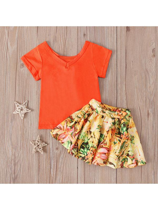 【12M-4Y】Orange V-neck Short-sleeved T-shirt And Floral Skirt Suit
