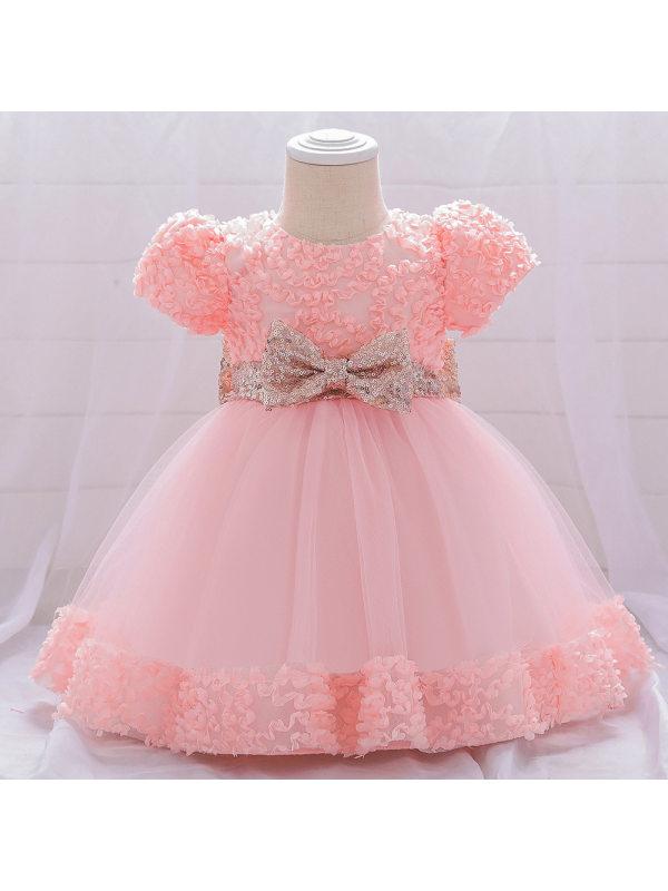 【6M-24M】Sweet Golden Bow Mesh Embroidery Princess Dress