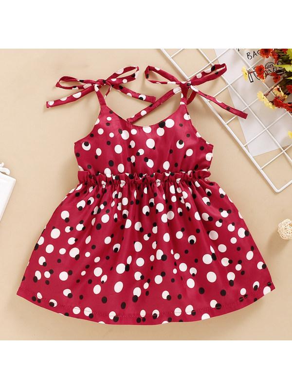 【12M-5Y】Cute Polka Dot Print Red Sling Dress