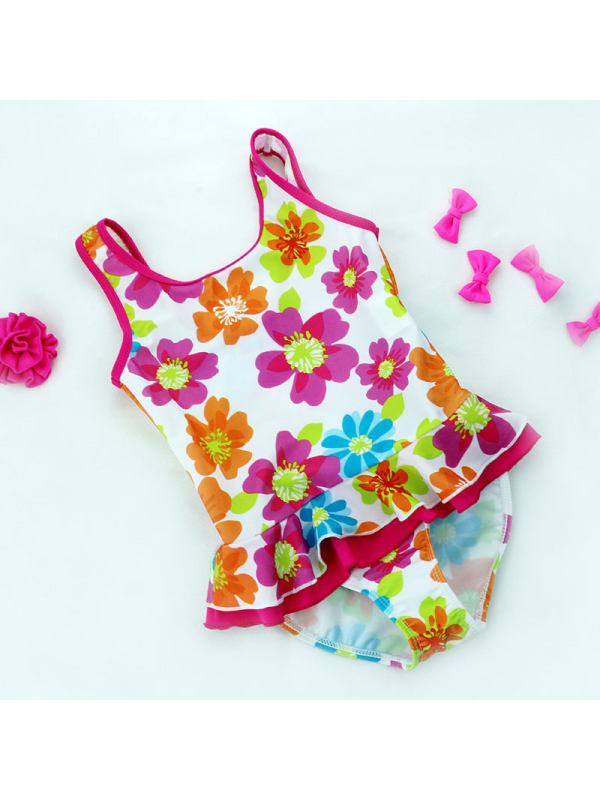 【18M-5Y】Girls Floral Full-print Side One-piece Swimsuit