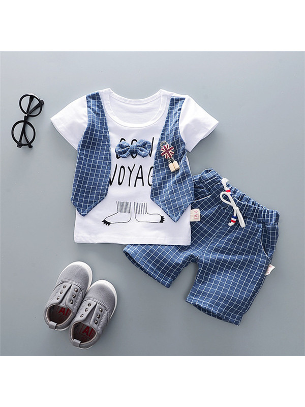 【12M-4Y】Boys Striped Print Fake Two-Piece Casual Suit