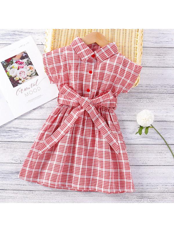 【18M-7Y】Sweet Red Plaid Short Sleeve Dress