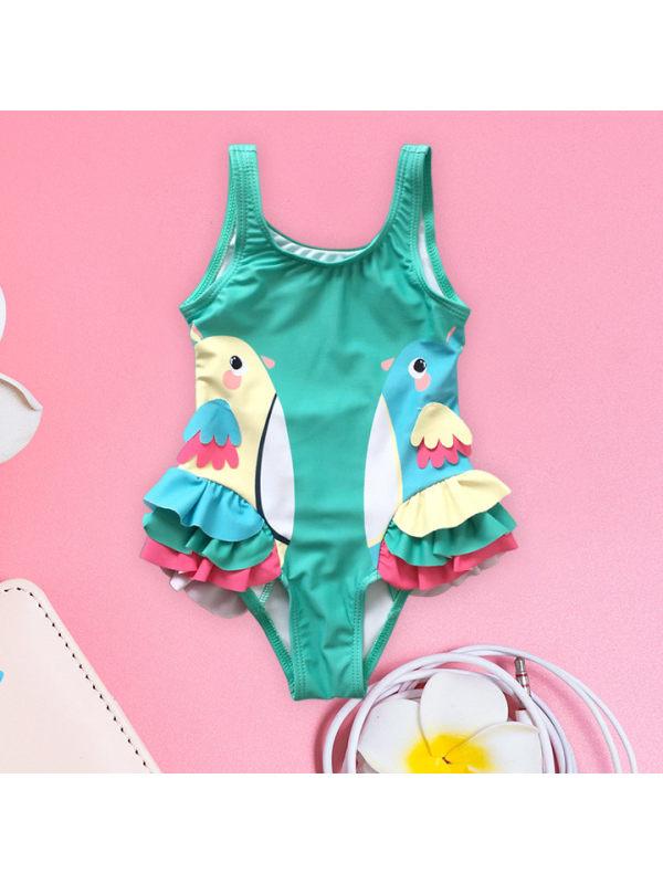【6M-7Y】Girls Cute Bird Print Lace One-piece Swimsuit