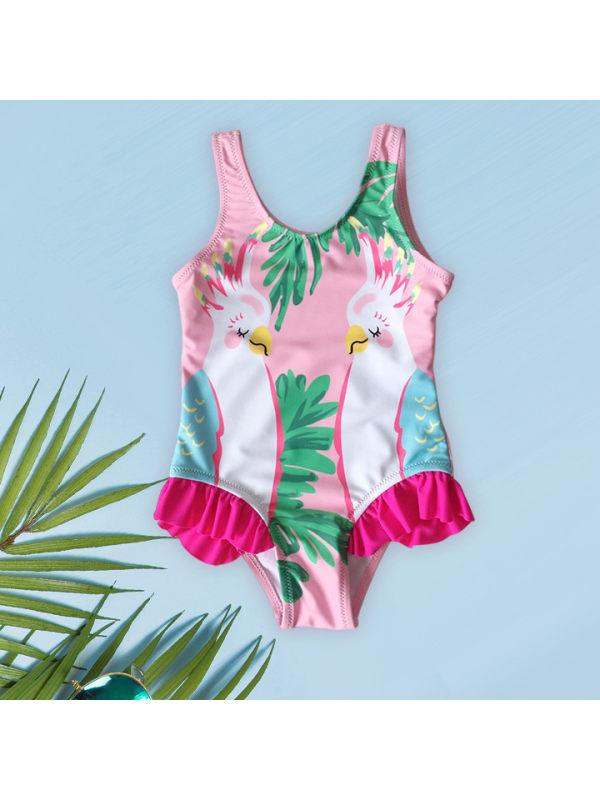 【6M-3Y】Girls Cute Parrot Print Lace One-piece Swimsuit