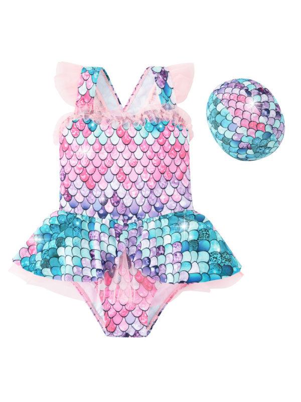 【2Y-11Y】Girls Sweet Cute Princess One-piece Mermaid Swimsuit