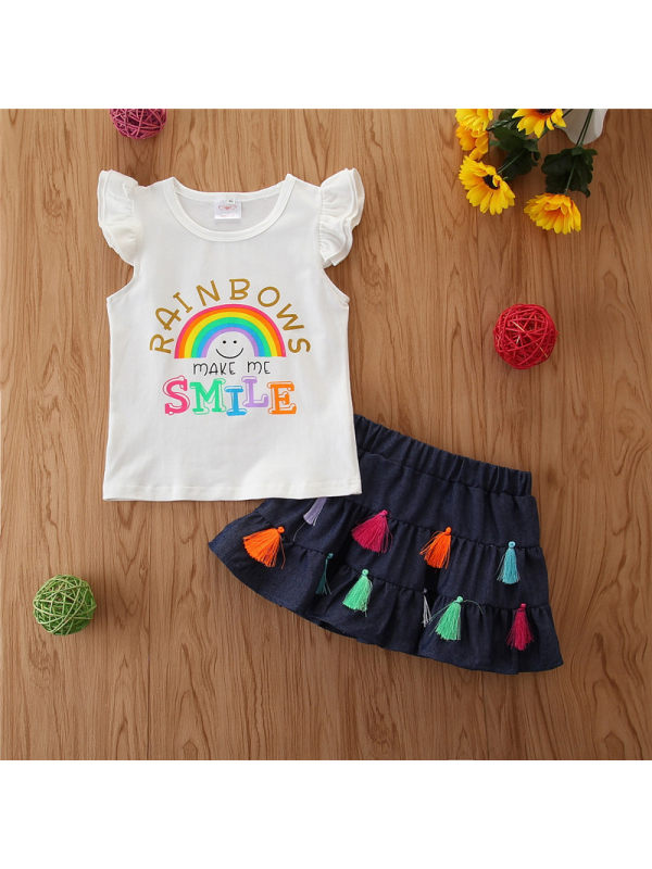【12M-4Y】Girl Cute Rainbow Sleeveless Top Tassel Skirt Set