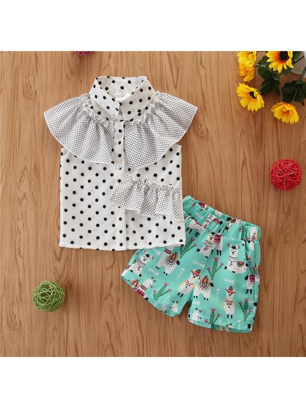【12M-5Y】Girls Irregular Polka Dot Shirt Lamb Print Shorts Set