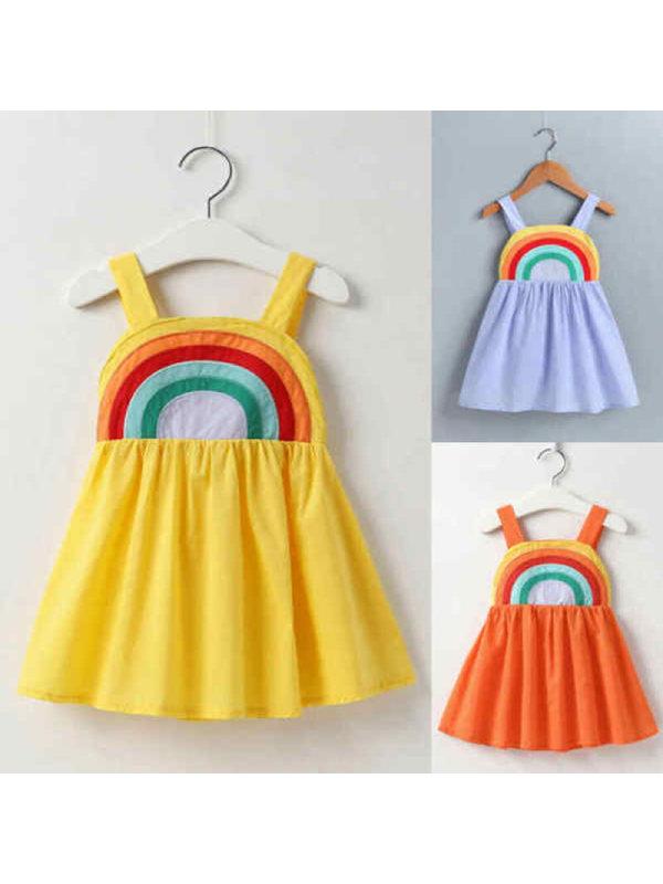 【18M-7Y】Girls Sling Rainbow Print Dress - 3393