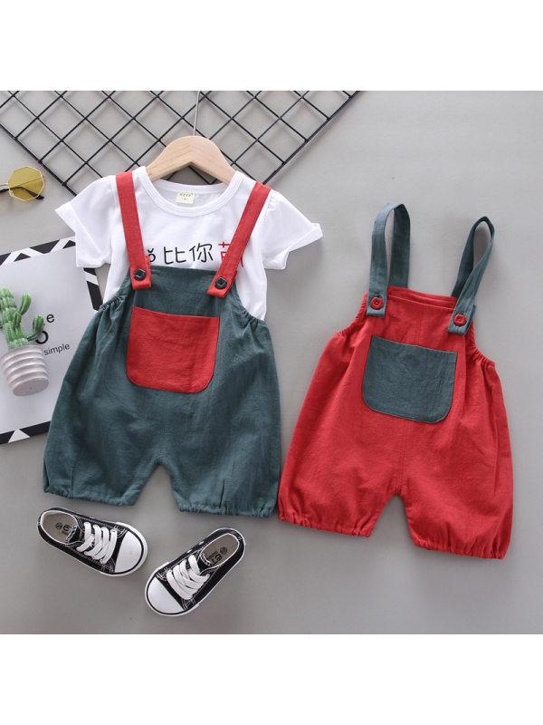 【12M-4Y】Boys Cartoon Print Short-sleeved T-shirt Overalls Set