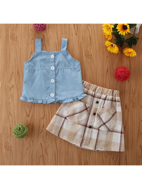 【18M-7Y】Girls Fresh Sweet Denim Cimisole Top Plaid Short Suit