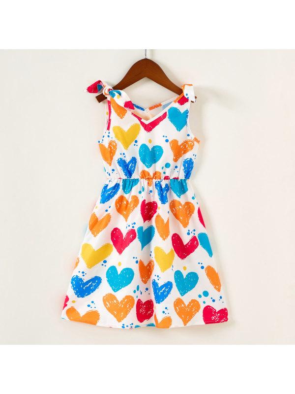 【18M-7Y】Cute Heart Printed V-Neck Sleeveless Dress