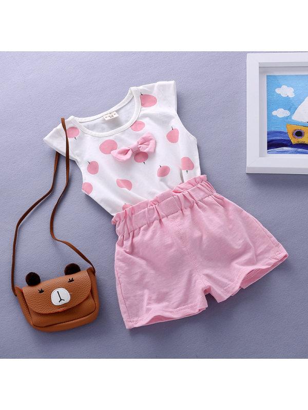 【12M-4Y】Girls Polka Dot Bow Sleeveless T-shirt Shorts Set