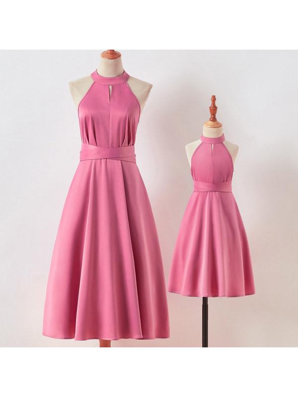 Elegant Pink Halter Mom Girl Matching Dress - 1318