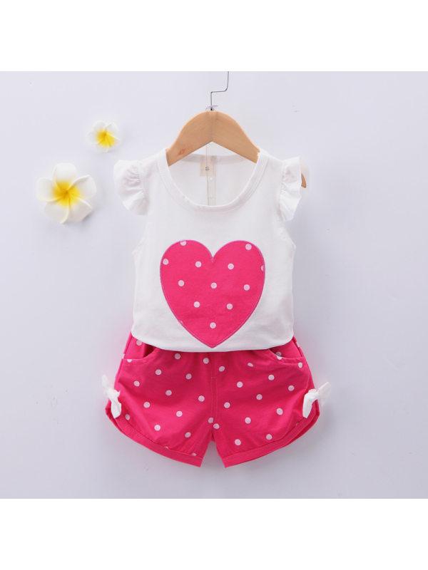 【12M-4Y】Girls Heart Pattern Short Sleeve Top Polka Dot Shorts Set