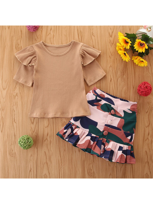 【18M-7Y】Girls Crew Neck Short Sleeve T-shirt Camouflage Skirt Suit