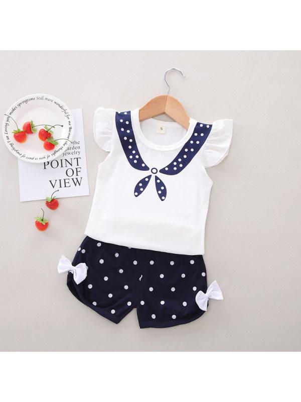 【12M-4Y】Girls Fake Sailor Collar Top Polka Dot Shorts Set