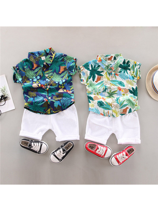 【12M-5Y】Boys Tropical Leaf Print Casual Suit - 4402