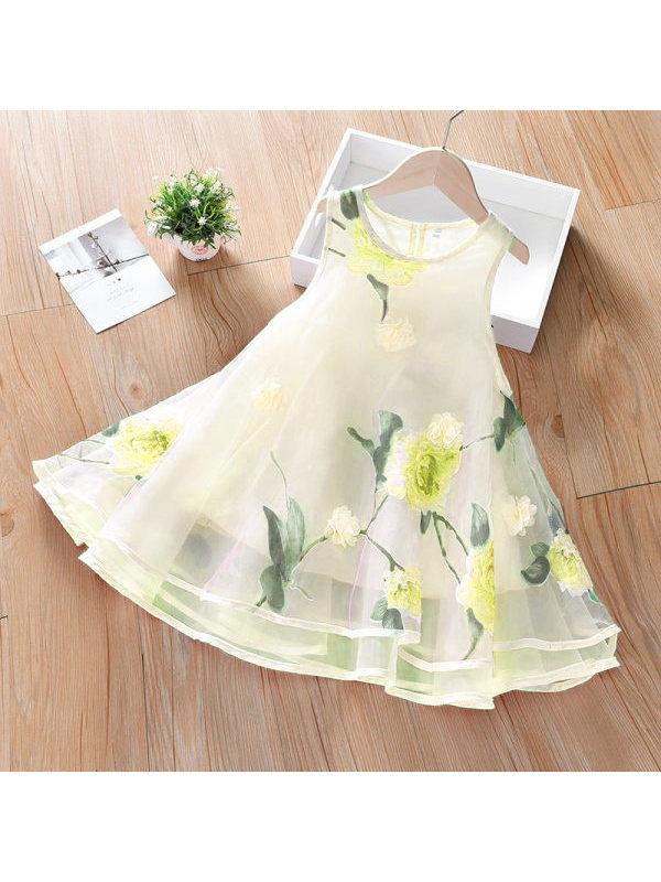 【4Y-13Y】Girls Fresh Sweet Flower Print Organza Sleeveless Dress - 3349