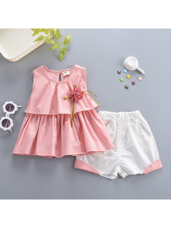 【12M-4Y】Girls Cute Sweet Ruffled Sleeveless Top Shorts Suit