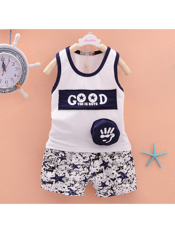 【12M-4Y】Boys Letter Print Vest Shorts Set