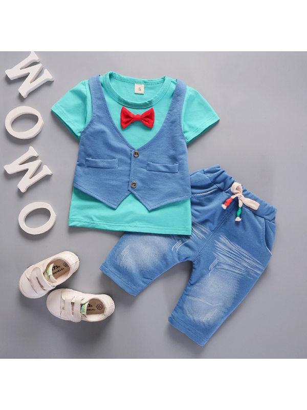【12M-4Y】Boys Short Sleeve T-shirt Denim Vest Shorts Set