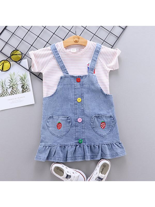 【12M-4Y】Girls Sweet Striped Short Sleeved T-shirt Denim Strap Skirt Set