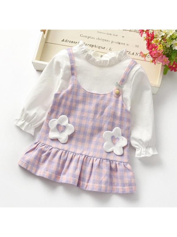 【12M-4Y】Girls Sweet Cute Long-sleeved Fake Two-piece Dress