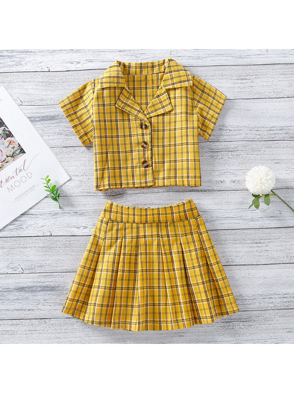 【18M-7Y】Girls Sweet Yellow Plaid Short-sleeved Shirt and Skirt Set