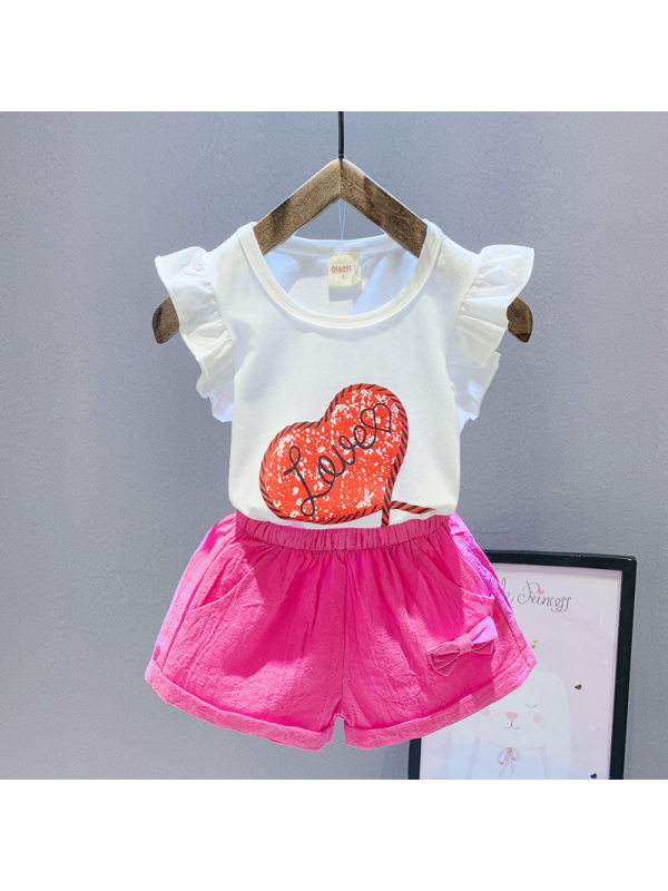【12M-4Y】Girls Heart-shaped Pattern Short-sleeved Top Shorts Suit